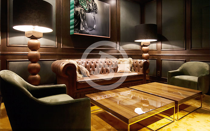 Decoration photography of a well designed sitting area in a snooker room