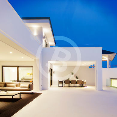 Amazing modern villa night photography in the province of Málaga