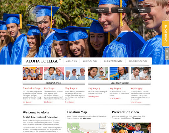 Website designed and developed for and international college based in Marbella