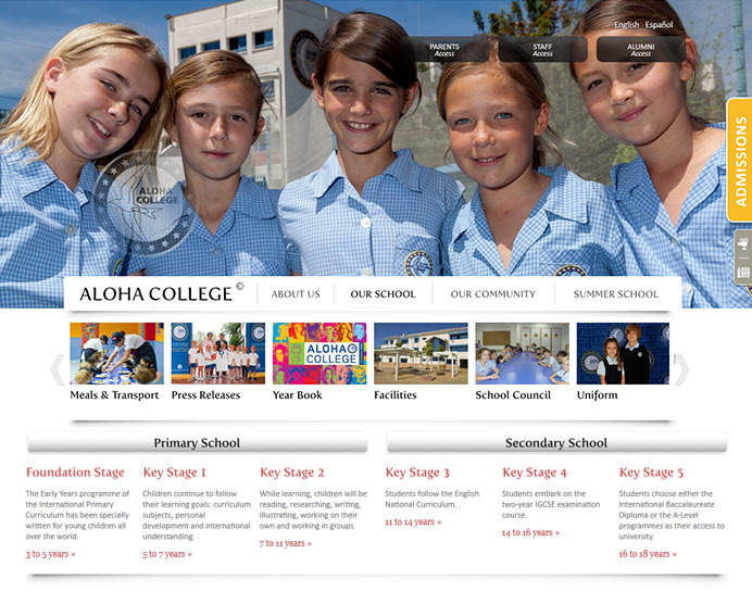 Aloha College website design