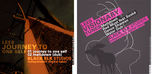 Cover designs for two minimal techno albums produced by Black Elk Studios Music Label