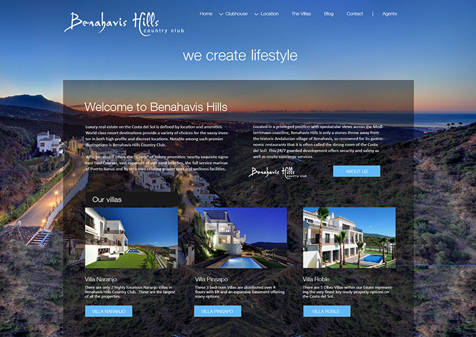 Web design for a luxury Benahavis Hills property development