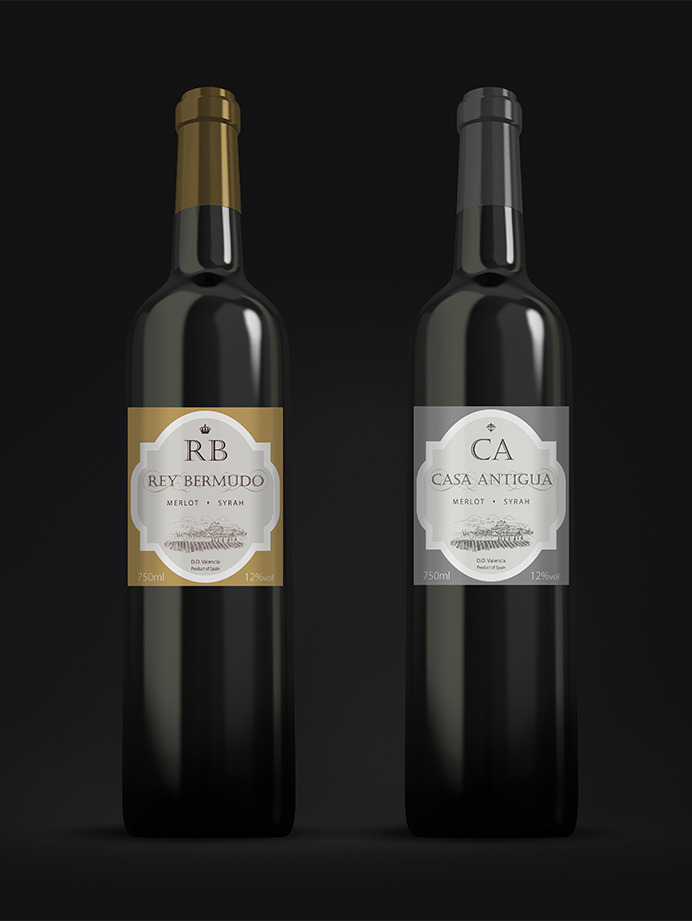 Elegant and traditional red wine label designs for a distributor in Malaga