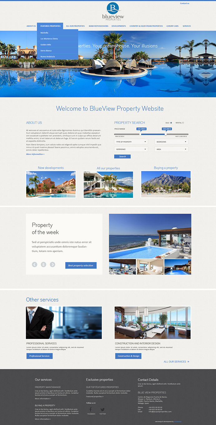 Elegant real estate website based on our property administration software