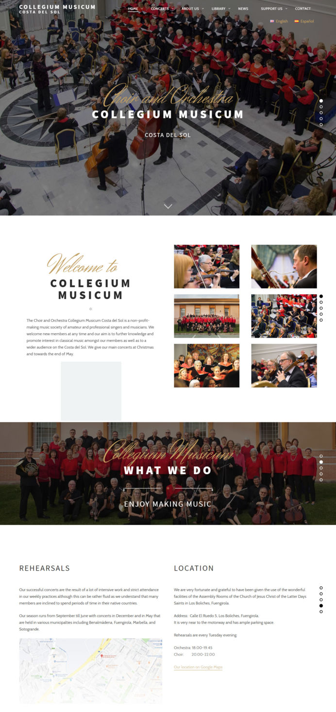 Music website design for Collegium Musicum orchestra in Costa del Sol