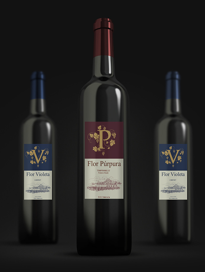 spanish red wine label designed for a distributor in m laga