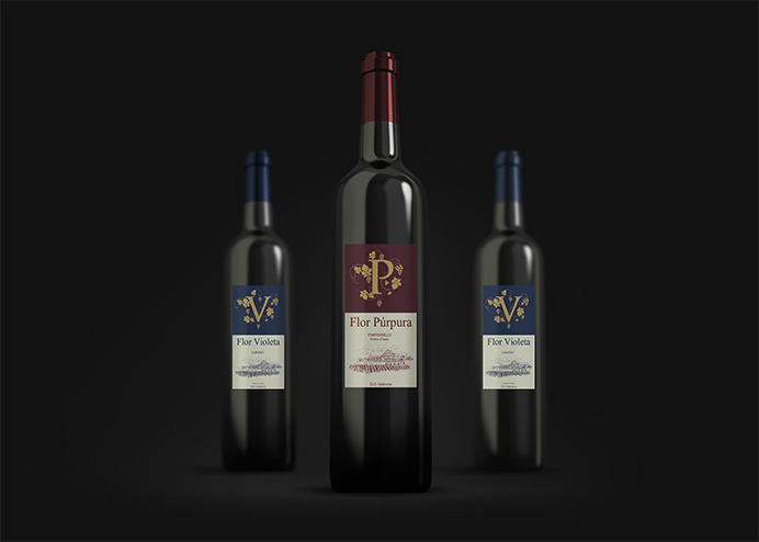 Graphic design for red wine bottle label ordered by a distributor in Málaga