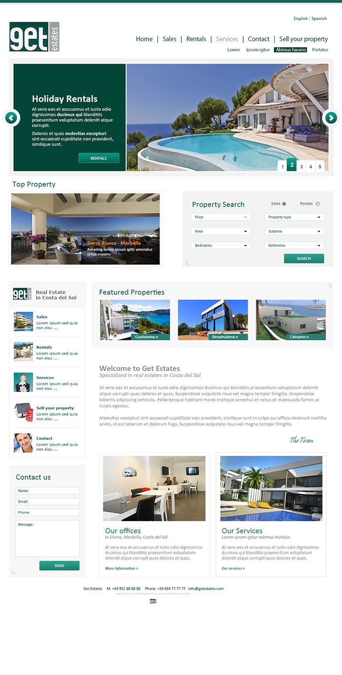 Clean and modern web design for a real estate agency in Riviera, Costa del Sol