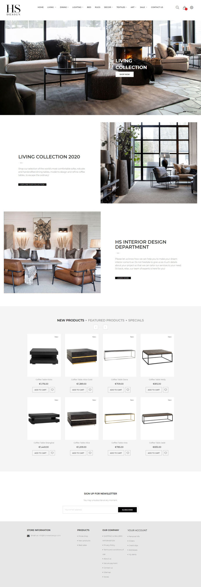 Luxury furniture online shop in Marbella developed on Prestashop 1.7 e-commerce manager and a modified premium theme