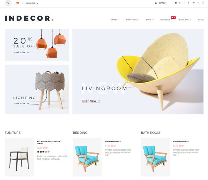 Indecor furniture e-commerce website design