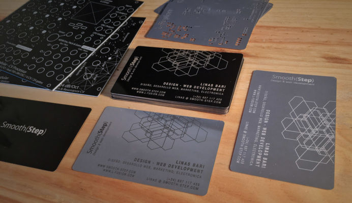 Laser engraved business cards for our web design works in Marbella