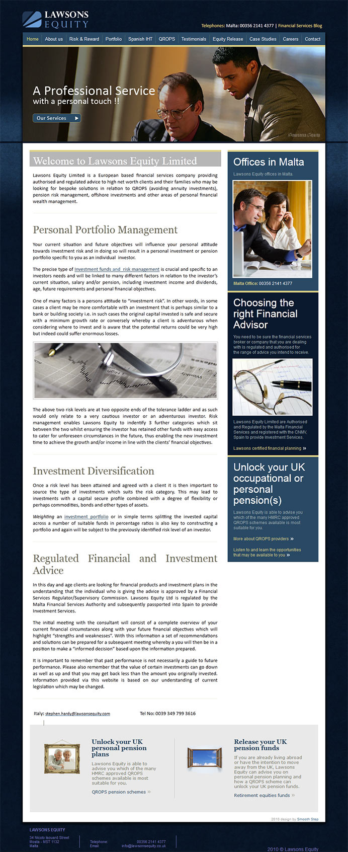 Lawsons financial website design