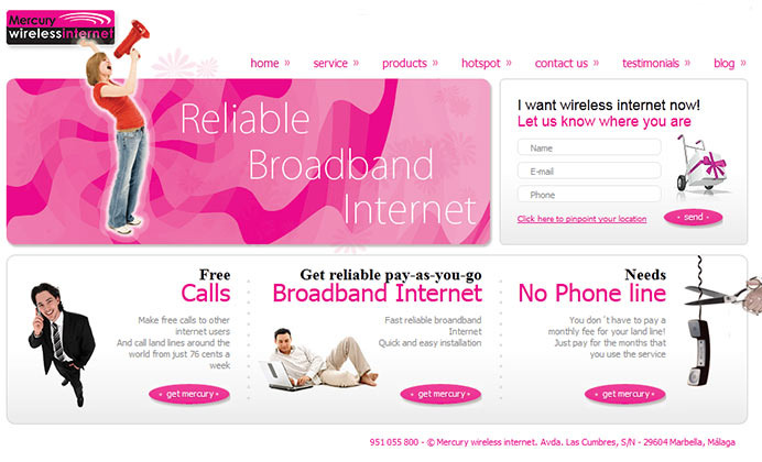 Fresh website design for a wireless internet provider in Marbella, Spain