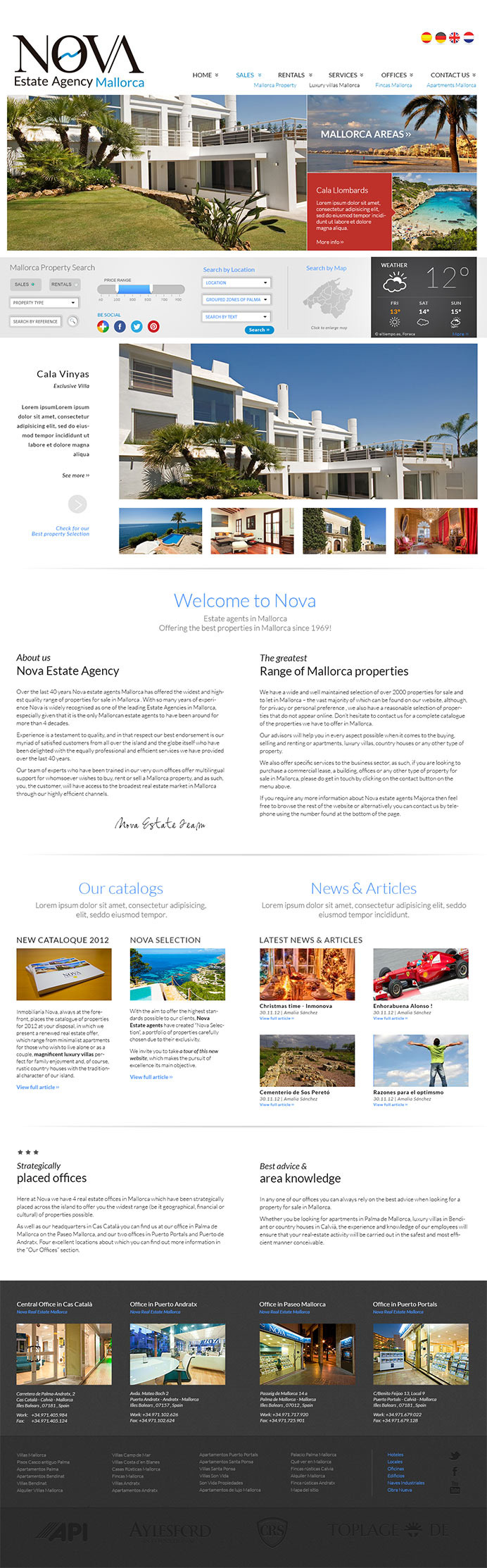 Modern website design for real estate agency in Mallorca