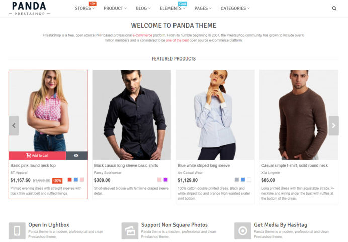 Featured products on Panda E-Commerce template