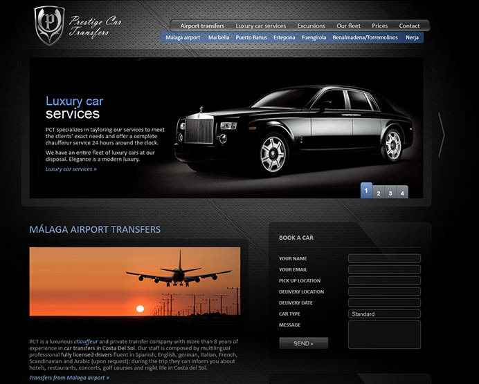Web design, SEO marketing and content manager based development for transportation company based in Marbella