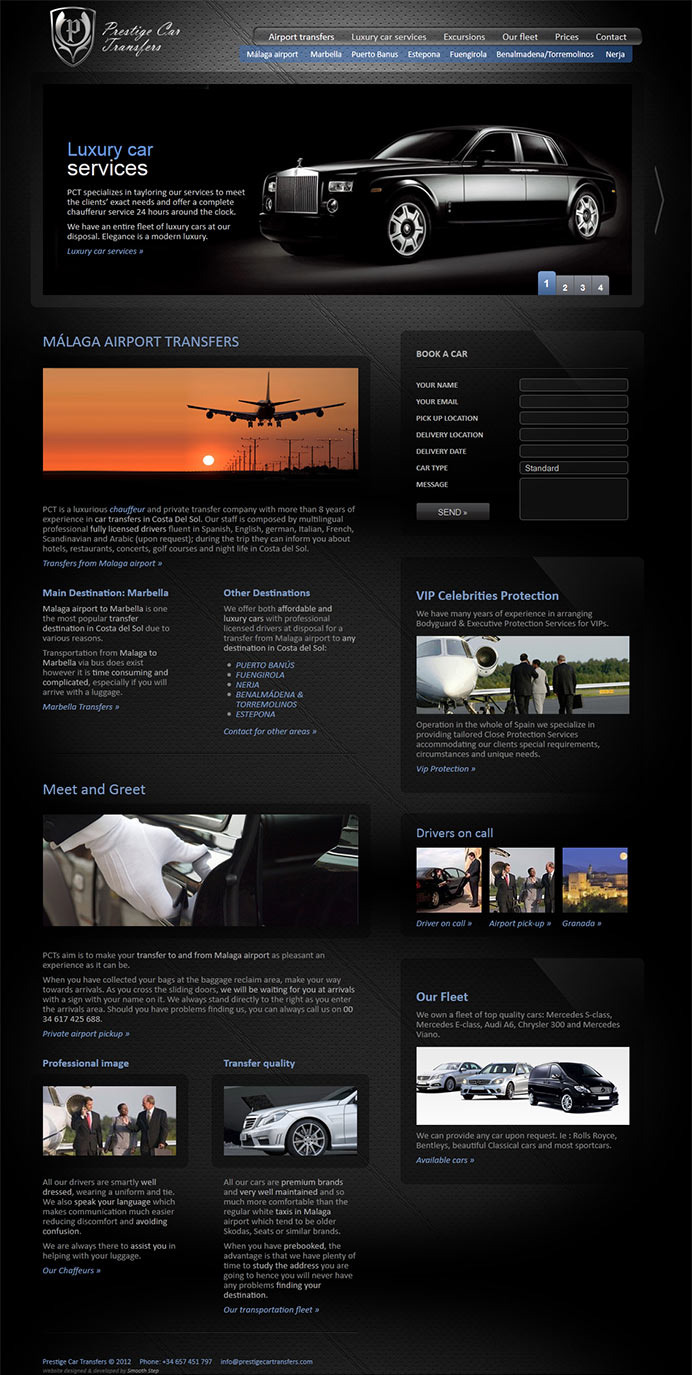 Web design for a company offering exclusive transfers and transportation in Costa del Sol