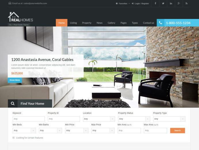 Realhomes real estate template with open source property manager