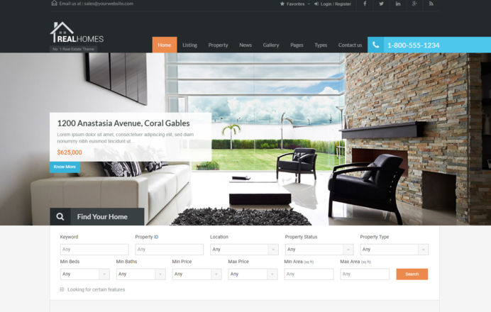 Realhomes Wordpress based template design