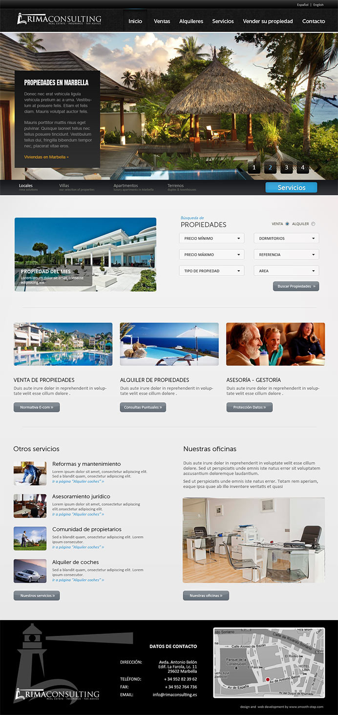 Web design for a real estate agency in Marbella