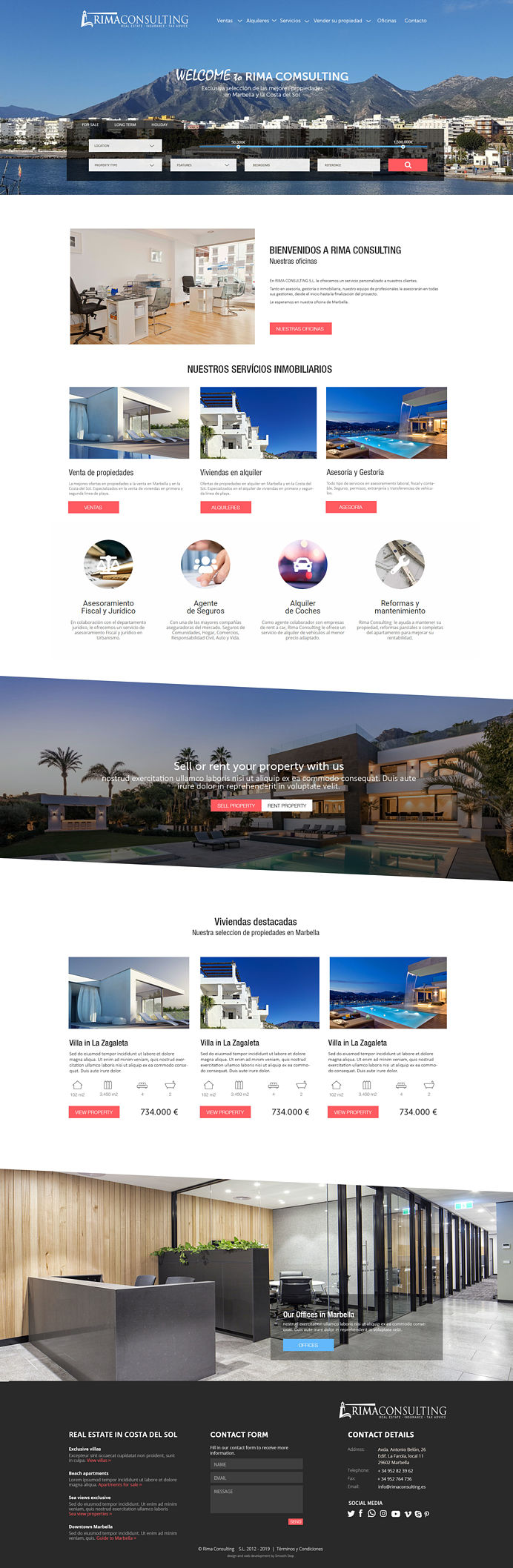 Rima real estate website design and property engine upgrade