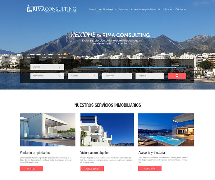 Real estate website development with our exclusive design for an agency in Marbella