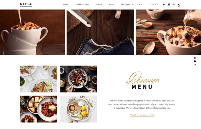 Rosa Wordpress design for a restaurant in Marbella