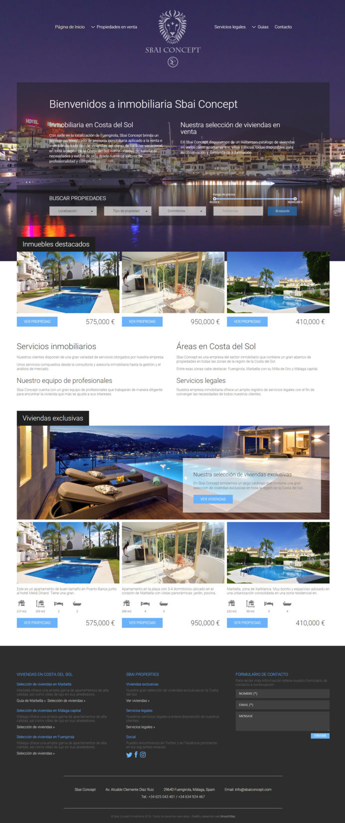 Exclusive real estate website design with semitransparent search panel