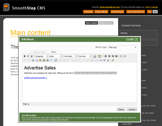 Smooth Step CMS text editor screenshot