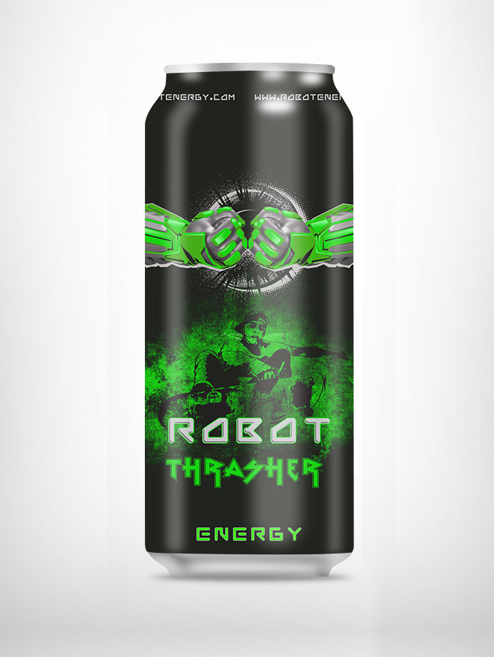 Thrasher, Robot Energy new drink, can label design