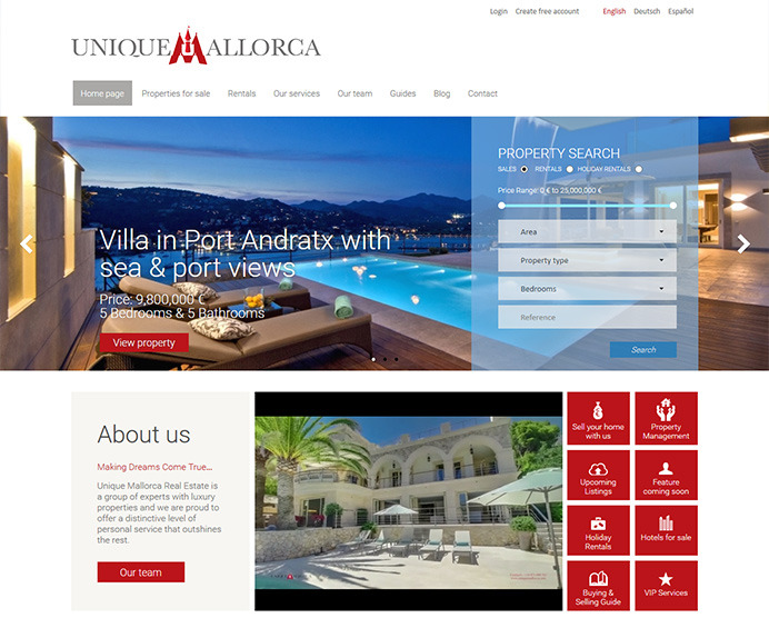 Large real estate website development based on our latest property manager