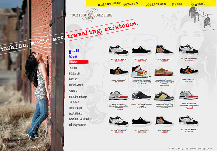 Product listing example for an e-commerce fashion shop