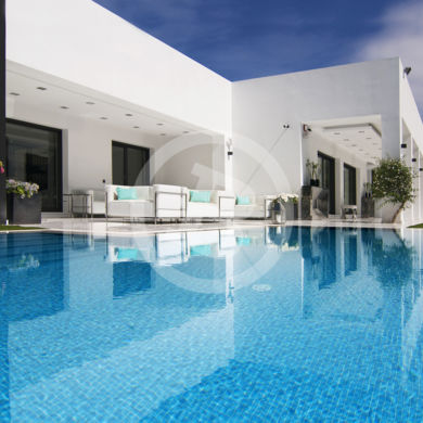 Beautiful mirror effect of exterior villa photographed in Marbella
