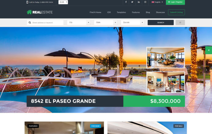 Wordpress template designed for real estate agency