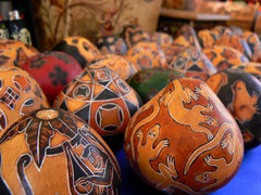 Ethnic ornamented wooden eggs